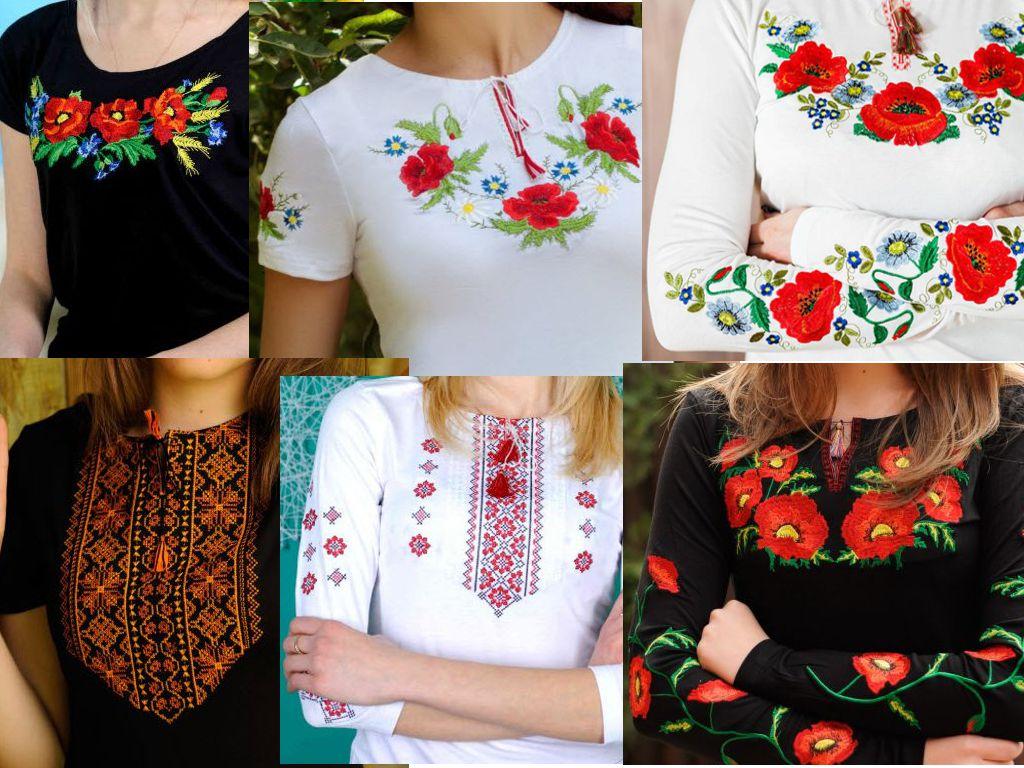 T-Shirts mit ukrainischer Stickerei
